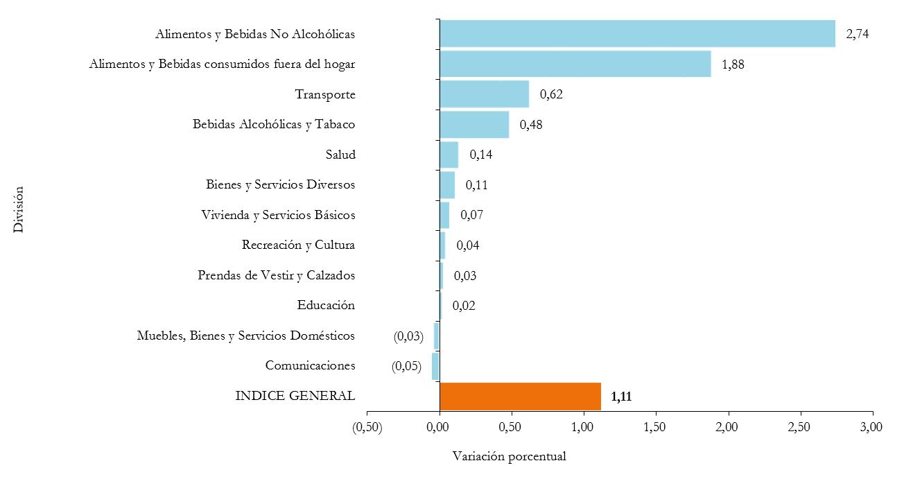 BOLIVIA: VARIACIÓN PORCENTUAL DEL ÍNDICE DE PRECIOS AL CONSUMIDOR,  POR DIVISIÓN, NOVIEMBRE DE 2019